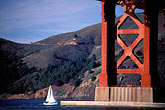 golden gate bridge tower stock photography | California, San Francisco, Golden Gate Bridge with sailboats, image id 0-434-8