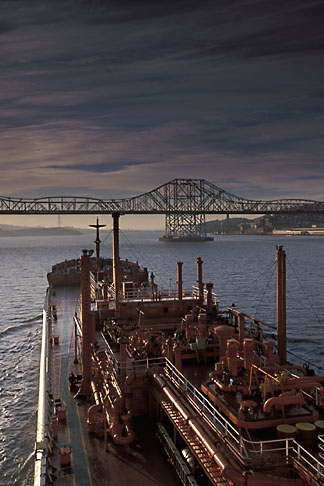 image 1-490-1 California, San Francisco Bay, Tanker Gaz Master approaching Carquinez Bridge
