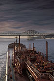 "water stock photography | California, San Francisco Bay, Tanker ""Gaz Master"" approaching Carquinez Bridge, image id 1-490-1"