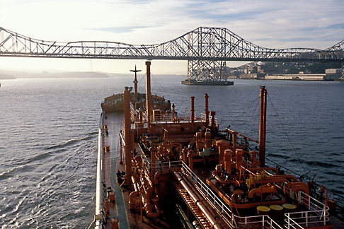 1-490-10  stock photo of California, San Francisco Bay, Tanker Gaz Master approaching Carquinez Bridge