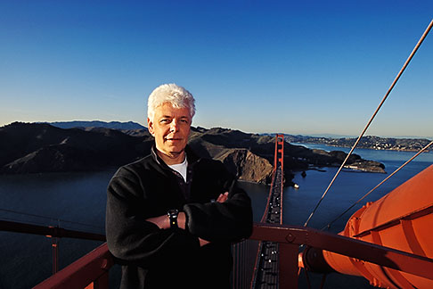 image 1-62-18 California San Francisco, Man on top of Golden Gate Bridge