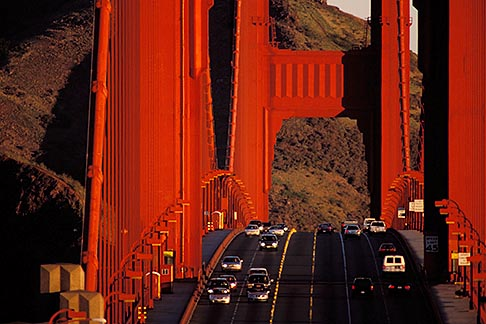 image 1-63-19 California, San Francisco, Golden Gate Bridge roadway