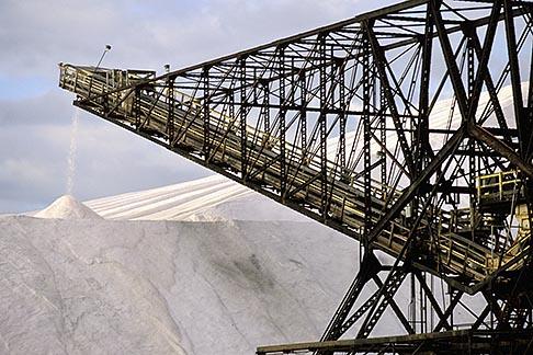 image 1-770-49 California, San Francisco Bay, Salt manufacture, processed salt storage pile with conveyor