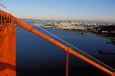 golden gate bridge tower and cable stock photography | California, San Francisco, Downtown and Crissy Field from Golden Gate Bridge, image id 1-80-39