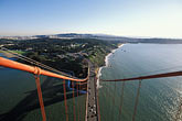 bridge stock photography | California, San Francisco, Presidio and toll plaza from Golden Gate Bridge tower, image id 1-80-91