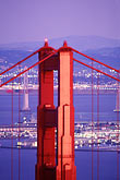 vertical stock photography | California, San Francisco, Golden Gate Bridge at night from Marin Headlands, image id 1-81-63
