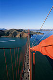 elevated view stock photography | California, San Francisco, Golden Gate Bridge from South tower, image id 1-81-75
