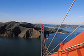 golden gate bridge tower stock photography | California, San Francisco, Golden Gate Bridge from South tower, image id 1-81-87