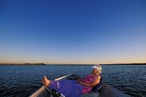 image 1-856-40 California, Delta, Little Potato Slough, Boating at sunset