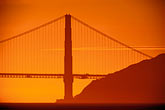 golden gate bridge tower stock photography | California, San Francisco Bay, Golden Gate Bridge at sunset, image id 1-864-51
