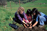 three girls stock photography | California, Marin County, McIsaac Ranch, STRAW program creek restoration, image id 2-216-30