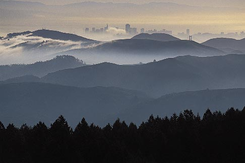 image 2-236-13 California, Marin County, San Francisco and hills from Mount Tamalpais