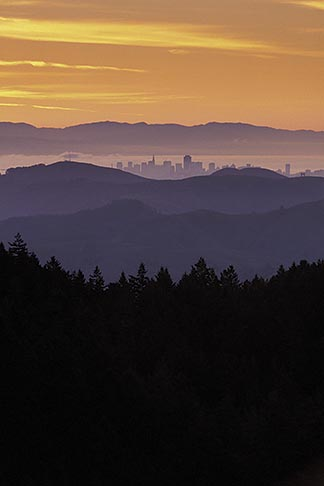 image 2-236-17 California, Marin County, San Francisco and hills from Mount Tamalpais