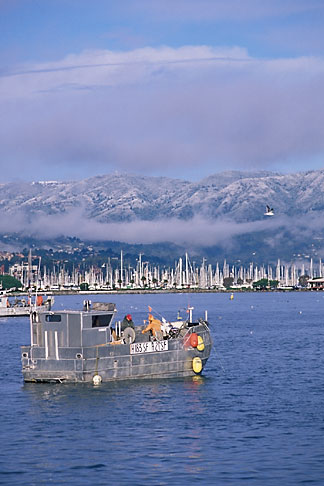 image 2-236-32 California, Marin County, Sausalito and snow capped Mount Tamalpais