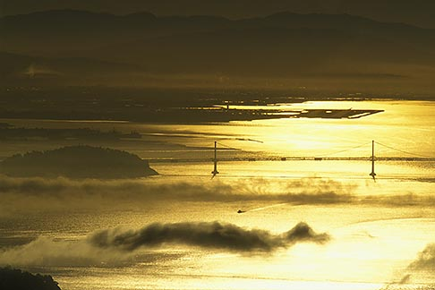 image 2-236-35 California, Marin County, Bay Bridge and fog from Mount Tamalpais