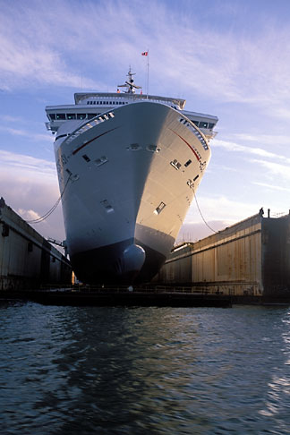 image 2-240-46 California, San Francisco, Port of San Francisco, Cruise ship in dry dock