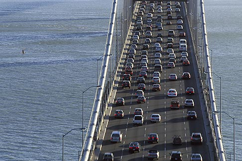 image 2-350-14 California, San Francisco Bay, San Francisco Oakland Bay Bridge from Yerba Buena Island