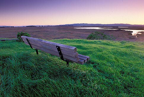 image 2-350-21 California, Solano County, Rush Ranch, Memorial bench overlooking Suisun Slough