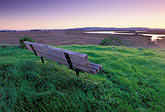sunset stock photography | California, Solano County, Rush Ranch, Memorial bench overlooking Suisun Slough, image id 2-350-21