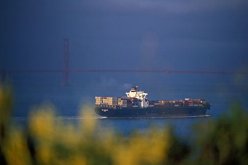 image 2-410-49 California, San Francisco Bay, Container ship leaving port