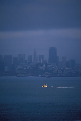 image 2-411-5 California, San Francisco Bay, San Francisco skyline and morning ferry