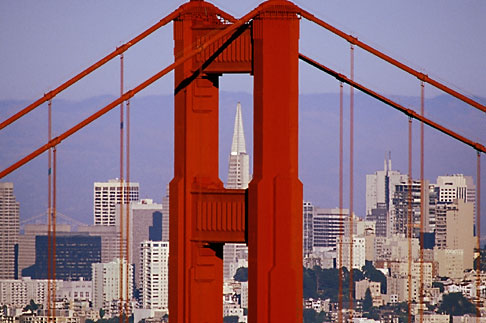 2-452-28  stock photo of California, San Francisco, Golden Gate Bridge tower and Transamerica Building