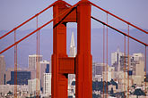 downtown district stock photography | California, San Francisco, Golden Gate Bridge tower and Transamerica Building, image id 2-452-28