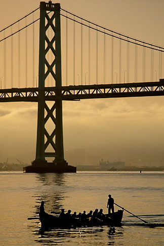 image 3-176-36 California, San Francisco, Early morning boating beneath the Bay Bridge