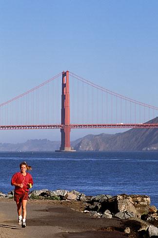 image 3-189-33 California, San Francisco, Runner with Golden Gate Bridge