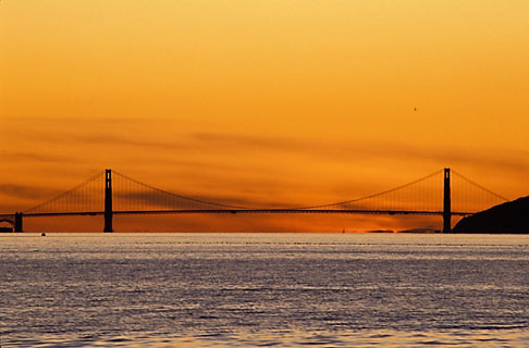 image 3-3-9 California, San Francisco Bay, Golden Gate Bridge at sunset