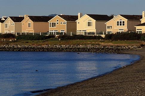 image 3-401-62 California, San Francisco Bay, Richmond, Marina Bay, beach and houses