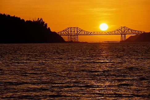 image 4-206-29 California, Benicia, Carquinez Bridge at sunset