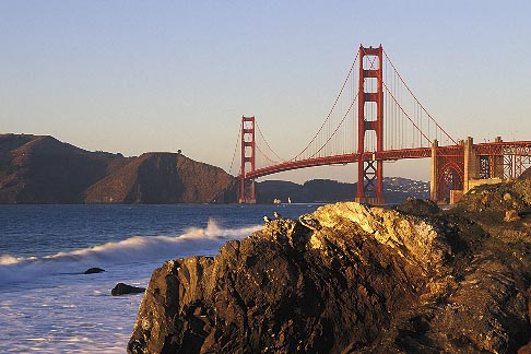 4-526-27  stock photo of California, San Francisco, Golden Gate Bridge from Baker Beach