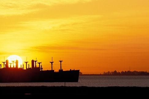 image 4-90-2 California, Benicia, Mothball fleet at sunrise