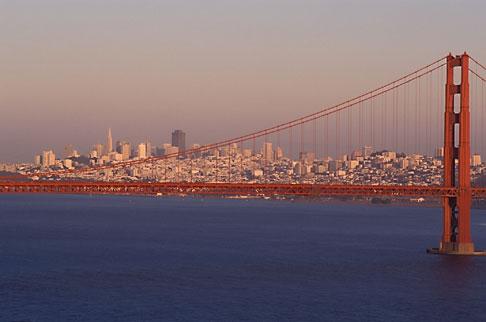 image 5-371-29 California, San Francisco Bay, San Francisco skyline at dusk with Golden Gate Bridge