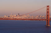 rise stock photography | California, San Francisco Bay, San Francisco skyline at dusk with Golden Gate Bridge, image id 5-371-29