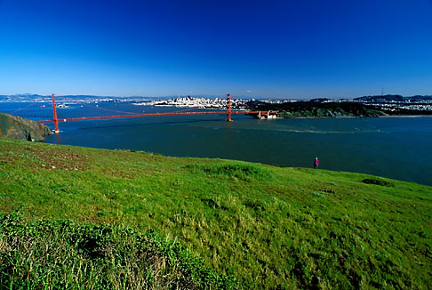 image 5-99-24 California, Marin County, Golden Gate Bridge and San Francisco from Headlands