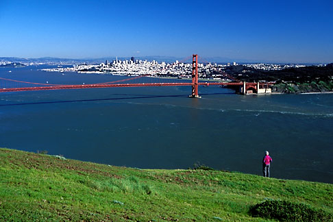 image 5-99-30 California, Marin County, Golden Gate Bridge and San Francisco from Headlands
