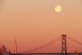 suspension bridge stock photography | California, San Francisco, Moonset over Bay Bridge, image id 6-114-24