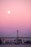 suspension bridge stock photography | California, San Francisco, Moonset over Bay Bridge, image id 6-115-29