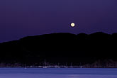 horizontal stock photography | California, Marin County, Moonrise over Angel Island, Angel Island State Park, image id 6-163-12
