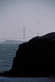 crossing stock photography | California, San Francisco Bay, Golden Gate Bridge and Bird Rock, Brooks Island, image id 6-170-13