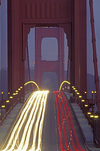 image 6-174-10 California, San Francisco Bay, Golden Gate Bridge roadway at night