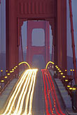 suspension bridge stock photography | California, San Francisco Bay, Golden Gate Bridge roadway at night, image id 6-174-10
