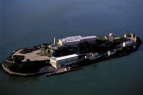 image 6-372-2 California, San Francisco Bay, Alcatraz Island from the air