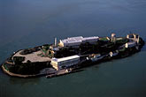 alcatraz island stock photography | California, San Francisco Bay, Alcatraz Island from the air, image id 6-372-2