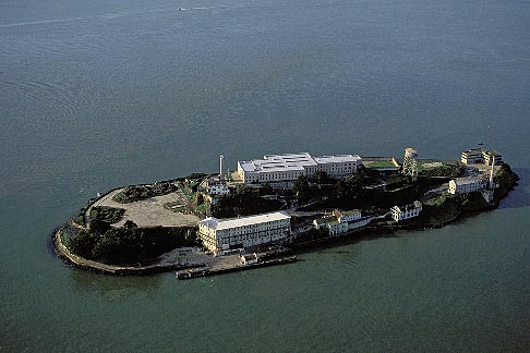 image 6-372-3 California, San Francisco Bay, Alcatraz Island from the air