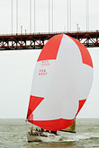 us stock photography | California, San Francisco Bay, Sailboat under Golden Gate Bridge, image id 6-440-5390