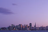 downtown skyline at night stock photography | California, San Francisco, Skyline at dusk, image id 7-275-21