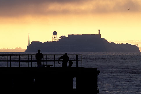 image 7-461-36 California, San Francisco Bay, Alcatraz at dawn